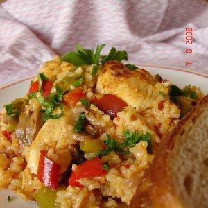 Пилешки гърди с гъби и ориз