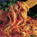 Спагети с ароматен патладжанен сос