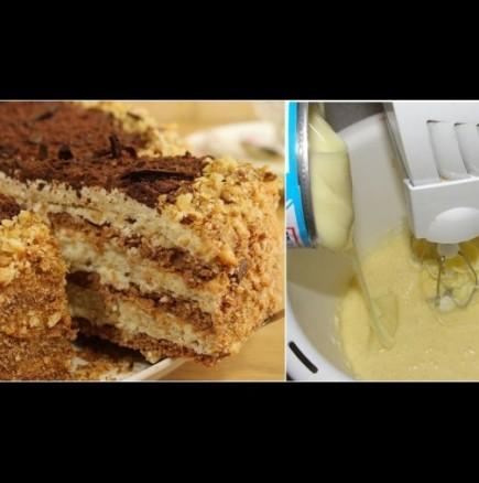 Най-вкусната домашана торта става с кондензирано мляко: кремът попива идеално в блатовете, просто божествено!