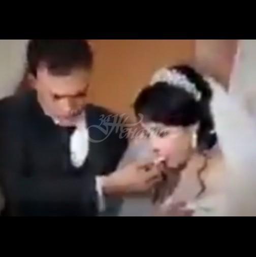 Младоженец удари зверски шамар на булката по време на сватбената церемония