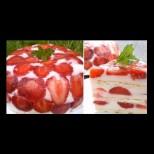 100 гр бисквити, 300гр. ягоди и цялата тази красота за 3 часа в хладилника е готова. Лятна бисквитена торта
