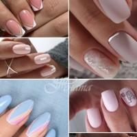 Стилен маникюр в розово, светло синьо и бледо лилаво