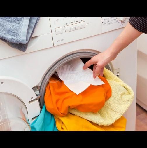 Моята малка тайна: всеки път, когато пера, пускам по една мокра кърпичка в пералнята - винаги действа!