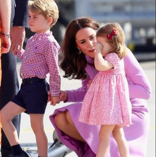 Кейт Мидълтън е супер-мама! Направи показно на Меган, как перфектно се справя сама с трите деца (Снимки):