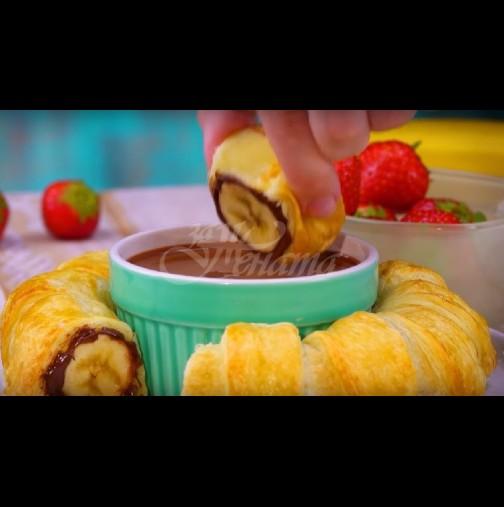 2 банана, тесто и шоколад - формулата за истински кулинарен екстаз. Приготвя се за минути, а блаженството трае дълго: