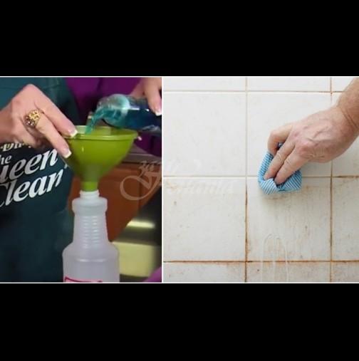 Чистим банята с оцет и течен сапун: Пръскаш, оставяш за половин час и мръсотията сама пада и от плочките, и от фугите!