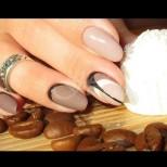 Цвят Кафе с мляко - 24 стилни маникюра, с нежни детайли за изтънчени дами! Подходящи за всяка дължина на ноктите!