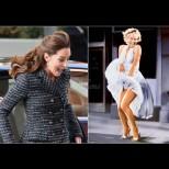 Кейт досущ като Мерлин Монро: Палав вятър издуха и без това късата ѝ поличка и стана забавно (Снимки):