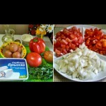 Чукнах 2 яйца, малко доматки и лук, добавих сиренце и винаги спасява положението дали за закуска, обяд или вечеря