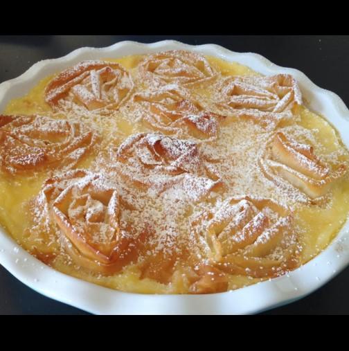 Турска млечна баница на розички - малка фантазия от напоени в крем кори: