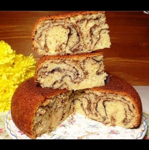 Мраморен кекс с газирано - най-лесната рецепта за пухкав и копринено мек резултат: