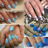 Къси нокти сини маникюри за морето