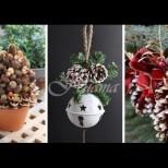 Празнична украса от шишарки (Снимки):