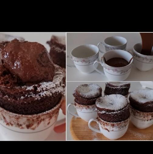Без печене и микровълнова - фамозно шоколадово суфле в чашка! Гребваш с лъжичката и изпадаш в екстаз: