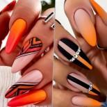 Впечатляващи оранжеви маникюри - дизайн (Снимки):