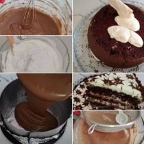 Яйце, кисело мляко, захар, сметана и шоколад-Торта три чаши