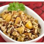 Вегетарианско блюдо с див ориз, кестени и тиква