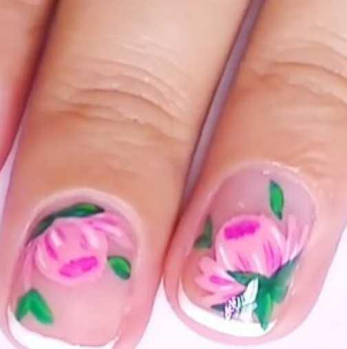 Нежни флорални нокти (Видео)