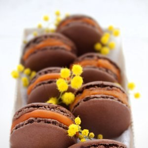 Шоколадови макрони със сорбе от маракуя