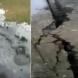 Силно земетресение, при което се отваря и затваря земята
