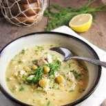 Пилешка супа с лимон по гръцки
