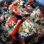 Патладжани на фурна с домати, мента и пармезан