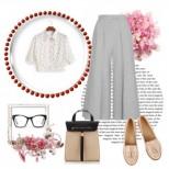 Какво да облечете утре? Една прекрасна бизнес комбинация: панталони с висока талия, съчетани с ...