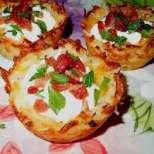 Картофени гнезда с бекон и сметана