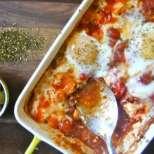 Сирене на фурна с маслини, домати и яйца