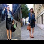 Модни комбинации с кожена пола за модерен външен вид през есен 2015