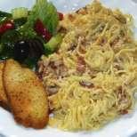 Спагети с бекон и яйца