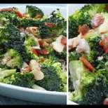 Кремообразна салата с броколи и бекон