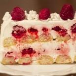 Лесна и размазващо вкусна бишкотена торта с малини - рецепта с видео