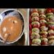 Върху всяка тиквичка слагам по 1 лъжица кайма и парче домат, заливам със соса и 30 минути по-късно запеканката е готова