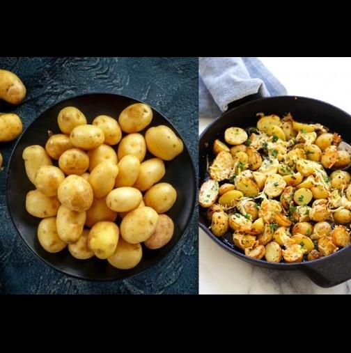 Така ги прави сестра ми в Италия и всеки път стават мозък! Даже не мие картофите, само обърква всичко, пече и после - мамма миа!