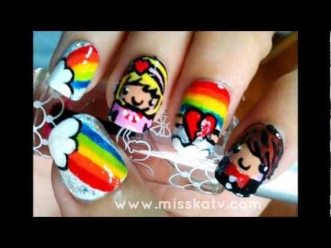 Супер цветна декорация за нокти с анимационни герои