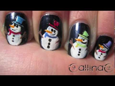 Как да си направим маникюр снежни човеци