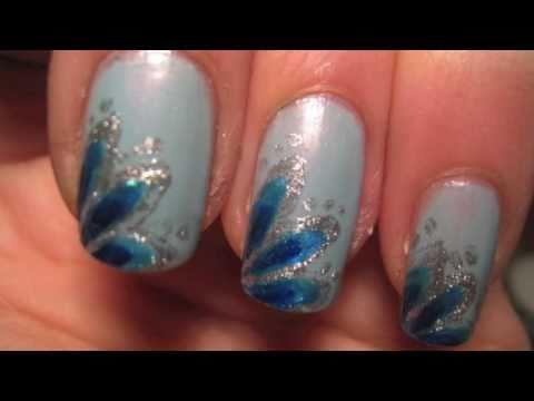 Как да си направим декорация за нокти сини цветя
