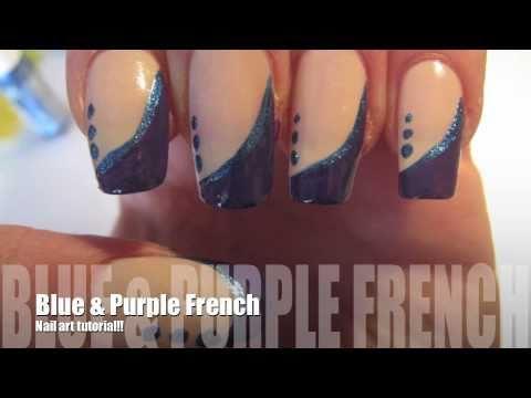 Как да си направим френски маникюр синьо и лилаво