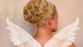 Официална сватбена прическа за къдрава коса средна дължина
