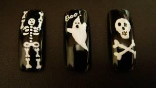 3 лесни Хелоуин декорации за нокти - скелет, череп и духче