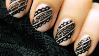 Лесна декорация за нокти черна дантела