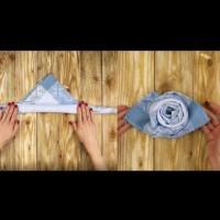 Как лесно да си направим роза от кърпа за хранене