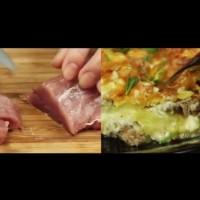Месо по френски - телешко с картофи и кашкавал, печено на слоеве