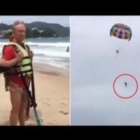 Мъж пада от парашут във въздуха