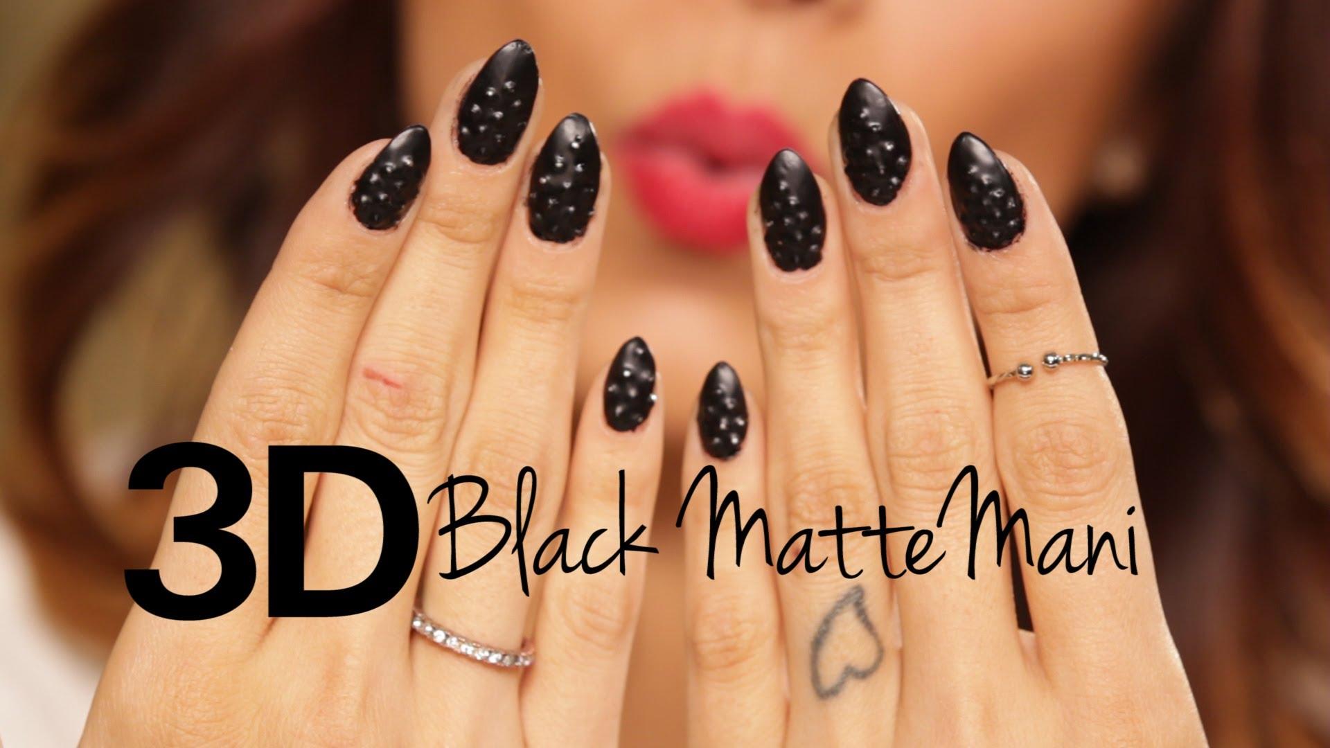 3D черен мат маникюр