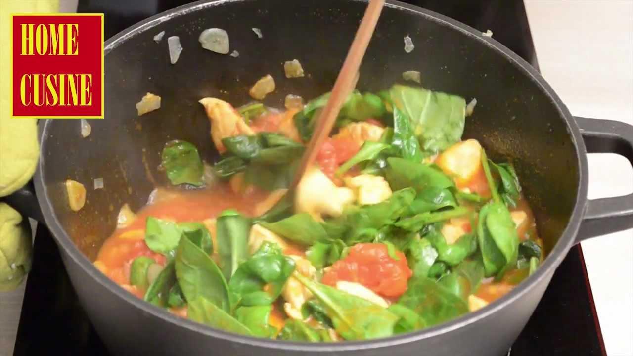 Рецепта за испанска доматена супа с пиле и спанак