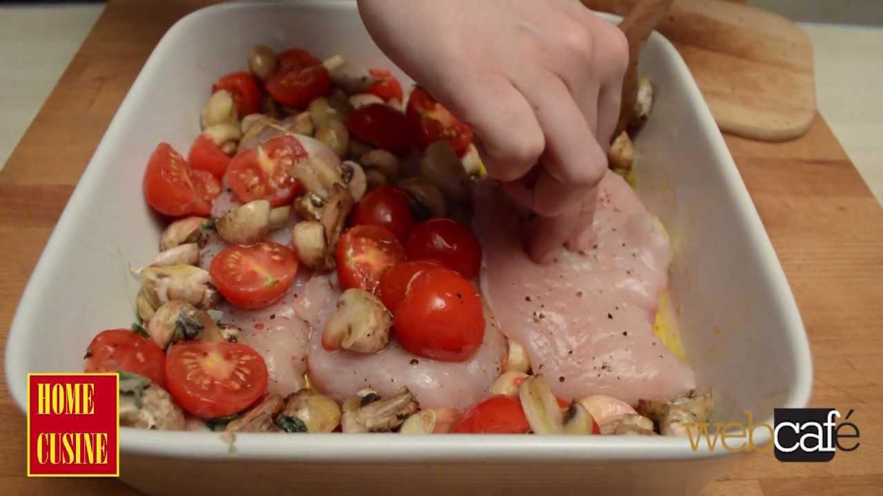 Рецепта за пилешко филе с чери домати и гъби