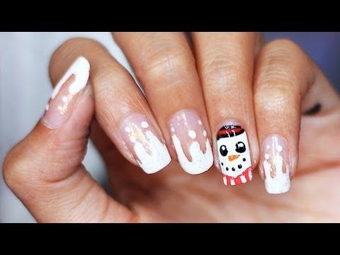 Зимни нокти със снежен човек