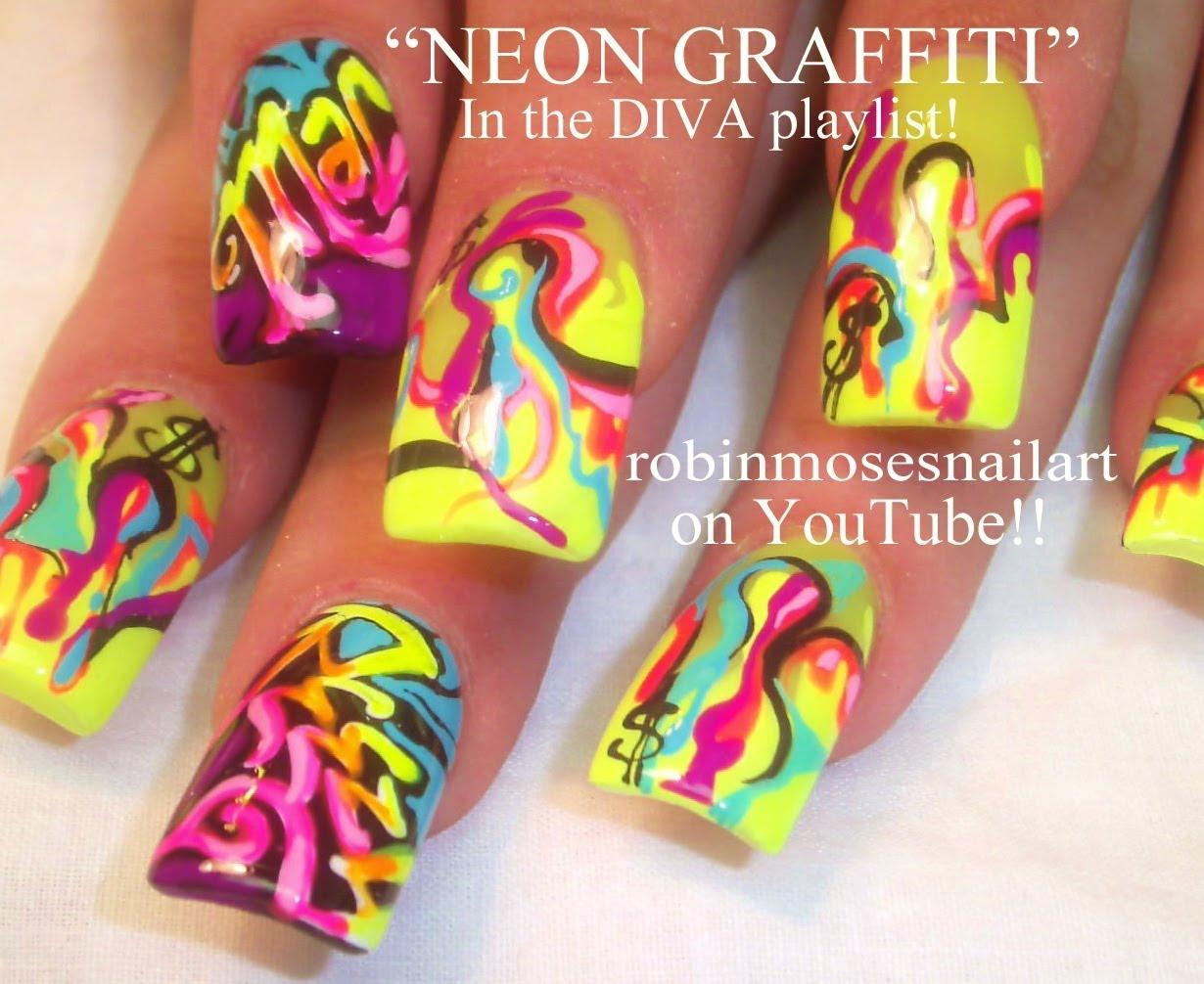 Лак за нокти неон и графити